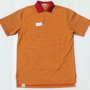Peter Millar Crimson Gold Striped Golf Polo Shirt